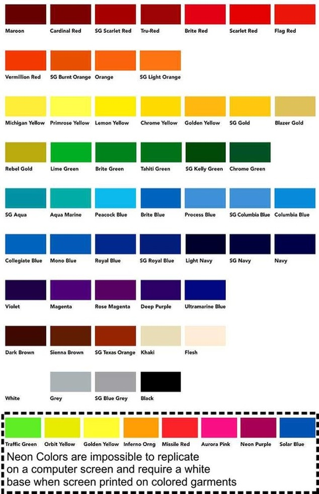 Color chart ltw apparel for Tattoo ink color chart